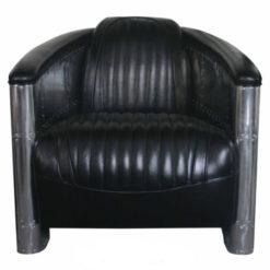 Fautueil cuir noir et aluminium Galerie Alréenne