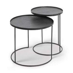 set de tables d'appoint pour plateaux ronds S/L ethnicraft